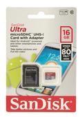 SanDisk microSDHC Ultra 16GB 80MB/s 533x Speicherkarte